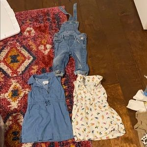 Lot of 2 old navy dresses 1 overalls 18-24